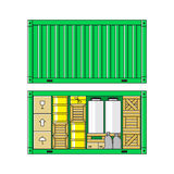 Green cargo container Royalty Free Stock Image