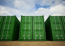 Green cargo containers Royalty Free Stock Image