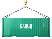 Green cargo freight shipping container isolated on white background Royalty Free Stock Photo