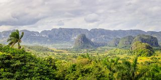 Green caribbean valley with small cuban houses and mogotes hills landscape panorama, Vinales, Pinar Del Rio, Cuba. Agriculture beautiful blue countryside stock photos