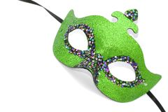 Green carnival mask. On white Stock Photos