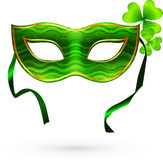 Green carnival mask with clovers Royalty Free Stock Image