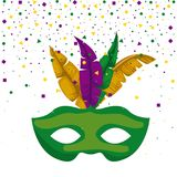 Green carnival mask and colorful feathers with confetti background. Vector illustration Royalty Free Stock Image