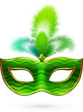 Green carnival mask with feathers Stock Photography