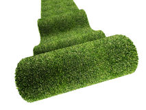 Green carpet. Fine 3d image of rolling green carpet on white Royalty Free Stock Image