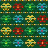 Green carpet with ethnic motifs Royalty Free Stock Image