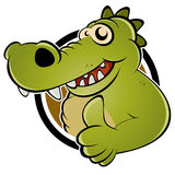 Green cartoon alligator Royalty Free Stock Photography