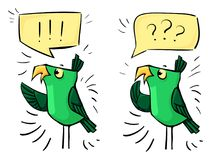 Green cartoon birds - emotion shock, surprise, bewilderment. Social media royalty free illustration