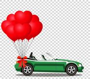 Green cartoon cabriolet car with bunch of red balloons. Green modern opened cartoon cabriolet car with bunch of red helium heart shaped balloons with festive Royalty Free Stock Photo