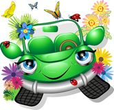 Green Cartoon Car. A Cute Little Green Cartoon Car with Flowers, Ladybugs and Butterflies Stock Photography