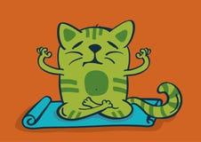 Green cartoon cat in yoga position. Vector illustration Stock Photos