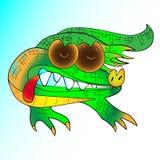 Green cartoon crocodile at the white background. Green cartoon crocodile on white background handmade Royalty Free Stock Photo