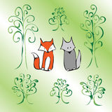 Green cartoon cute animals Stock Photo