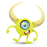 Green Cartoon cute monster Royalty Free Stock Images
