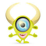 Green Cartoon cute monster Royalty Free Stock Image