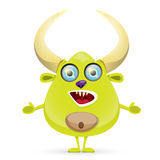 Green Cartoon cute monster Stock Image