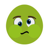 green cartoon face with sick expression, graphic Stock Photo