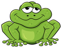Green cartoon frog isolated on white Royalty Free Stock Photography