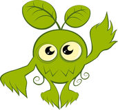 Green cartoon nature monster vector illustration
