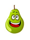 Green cartoon pear fruit Stock Photos