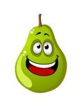 Green cartoon pear fruit Stock Photos