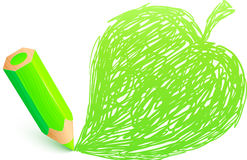 Green cartoon pencil with doodle leaf Stock Photography