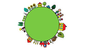 Green cartoon planet with rustic countryside on it. Illustration of green planet with trees, flowers, family, people, fields, farms and houses Stock Photography