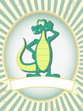 Green cartoon posing alligator blank product label Royalty Free Stock Photos