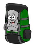 Green cartoon rucksack or backpack. With a big happy laughing smile for hiking and adventure isolated on white Royalty Free Stock Photography