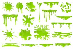 Free Green Cartoon Slime. Goo Blob Splashes, Sticky Dripping Mucus. Slimy Drops, Messy Borders For Halloween Banners Isolated Royalty Free Stock Image - 160398406