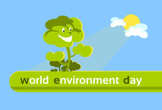 Green Cartoon Smiling Tree World Environment Day Banner Royalty Free Stock Photos