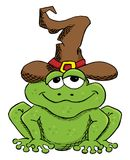 Green cartoon toad with witch hat isolated on white Vector Illustration