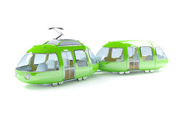 Green cartoon tram two wagon Royalty Free Stock Image