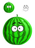 Green cartoon watermelon Stock Images