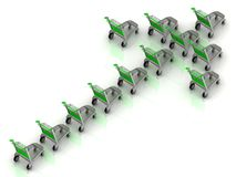 Green carts on wheels Royalty Free Stock Image