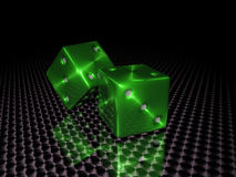 Green casino dice Stock Photography