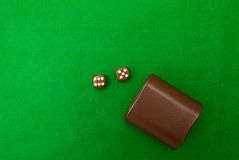 Green casino table with dice Royalty Free Stock Photo