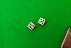 Green casino table with dice Stock Images