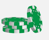 Green casino tokens, isolated on white background Stock Photography