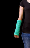 Green cast on hand and arm isolated on white background Royalty Free Stock Images