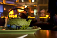 Green cast-iron teapot Stock Image