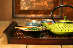 Green cast iron teapot Stock Photography