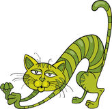 Green Cat. Illustration of Green Cat stretching Stock Image