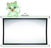A green cat above the whiteboard. Illustration of a green cat above the whiteboard on a white background Stock Photo