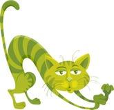 Green cat character cartoon illustration. Cartoon Illustration of Funny Green Cat Character Stock Photos