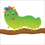 Green Caterpillar Cartoon. Vector Illustration On A White Background. Stock Photography