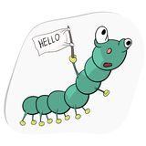 A green caterpillar is crawling and waving a white flag. royalty free illustration