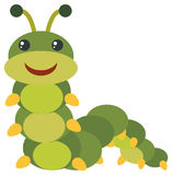 Green caterpillar with happy face. Illustration Stock Images