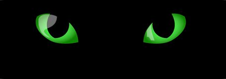 Green Cats Eyes. Illustration of cat eyes in the dark Stock Photo