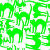 Green cats pattern isolated on white background Royalty Free Stock Image